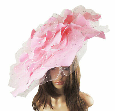 Candy Pink Extra Large Fascinator Ascot Kentucky Derby Proms P7