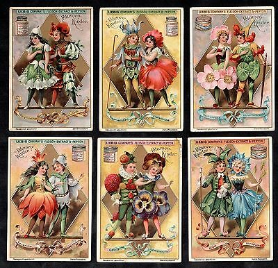 Flower Children Card Set Liebig 1898 Fashion Dress Victorian Vintage Snowdrop