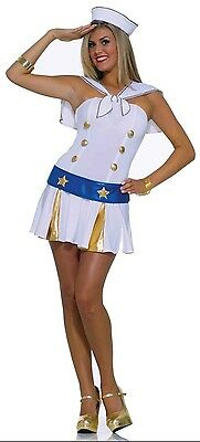Womens Sailor Costume White Blue Fancy Dress Ship Captain Gold Stars Adult NEW