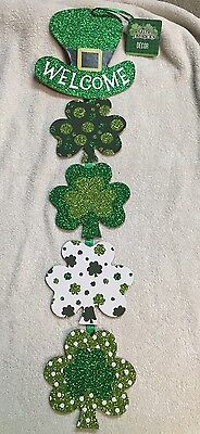 St Patrick's Day Wall Or Door Sign WELCOME Shamrocks Hanging Party Decor 23""