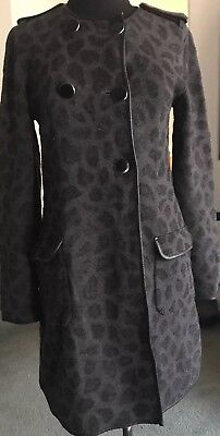 (3.1 Phillip Lim Wool Leather Trim Animal Print Double Breasted Coat/Jacket SZ.S)