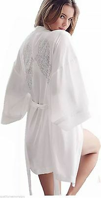 NWT Victoria's Secret Fashion Show NYC Bling Angel Wings Kimono Robe Angel White