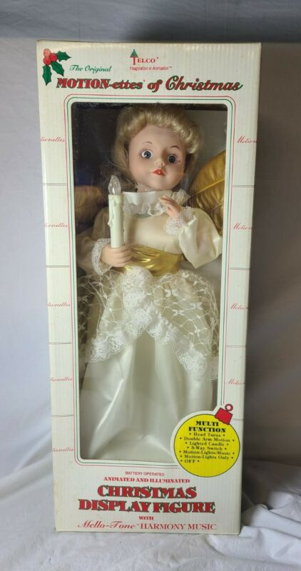 """Vintage Telco Motion-ettes of Christmas Angel 17"""" Gold Wings Blonde New Sealed"""