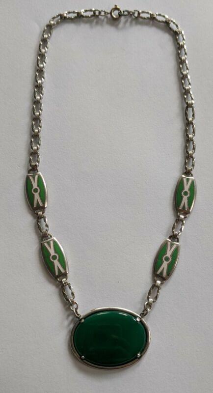 Antique Art Deco Rhodium Enamel Green Stone Necklace