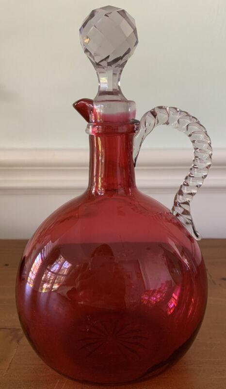 Vintage Cranberry Glass Decanter W/ Clear Barley Twist Handle