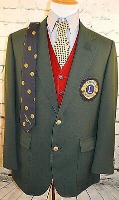 Vtg Lions Club Hardwick Green 2 Button Blazer w Tie & Patch Gold Btns 44 Regular