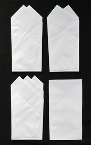 4 WHITE COTTON CUSTOM POCKET SQUARES prefolded & sewn square slips in pocket