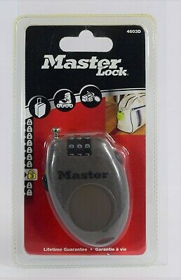 Master Lock Combination Retractable Cable Lock 4603D in Taupe BRAND NEW