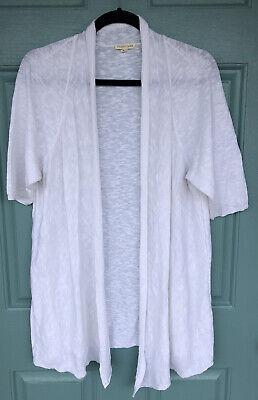 Eileen Fisher Women's XL White Open Front Cardigan Short Sleeve Linen Blend Cute