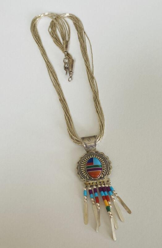 Vintage Navajo Sterling Silver Multi Strand Stone Heishi Liquid Pendant Necklace