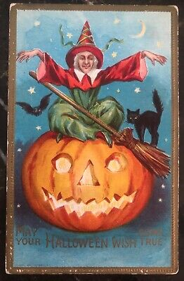 Mint Vintage USA Picture Postcard PPC Cover May Your Halloween Wish Come True - Halloween Your Pic