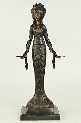 (Signed Native American Indian Girl Dec Statue Figurine Bronze Sculpture Figure)