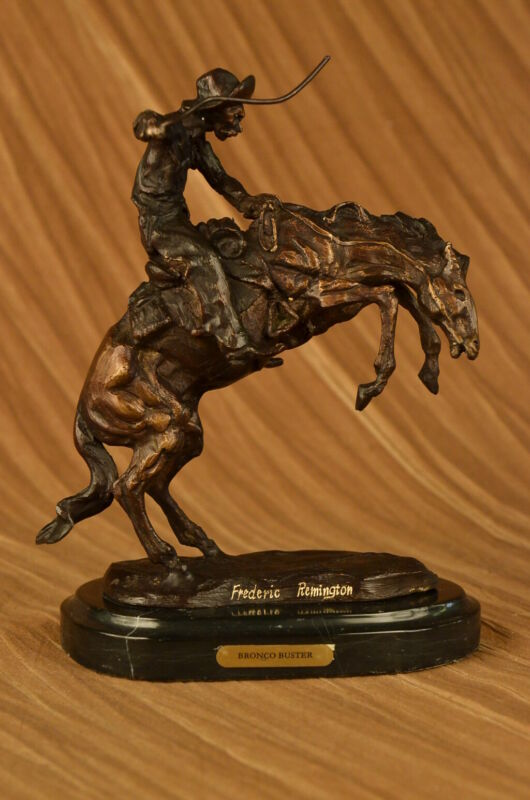 """THE BRONCO BUSTER By Frederic Remington 10"""" Bronze Sculpture Statue Signed Work"""