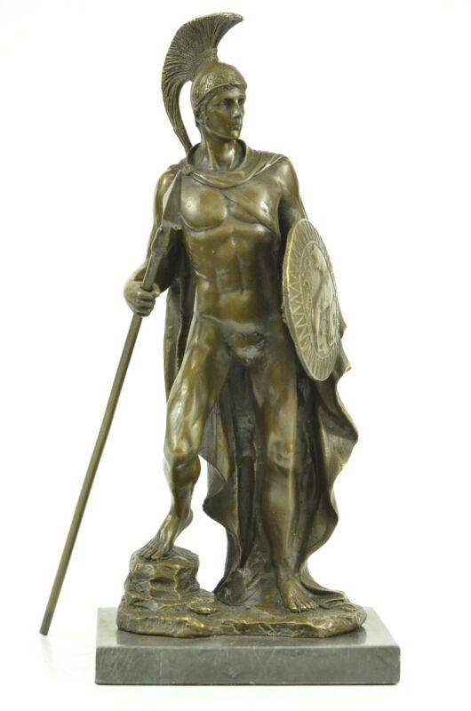 Gladiator Roman Warrior Soldier Spear Shield Military Art Bronze Marble Figure