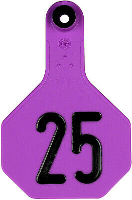 Ytex 3 Star Medium Cattle Id Ear Tags Purple Numbered 1-25