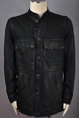 RICK OWENS SLAB Black Wax Coated Vintage Denim Jeans Men's Jacket Size L NEW