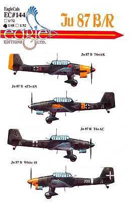 Used, EagleCals Decals 1/48 German JUNKERS Ju-87B/R STUKA Dive Bomber for sale  USA