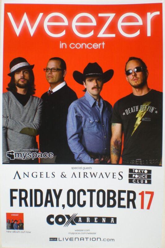 WEEZER / ANGELS & AIRWAVES 2008 SAN DIEGO CONCERT TOUR POSTER - Alt Rock Music
