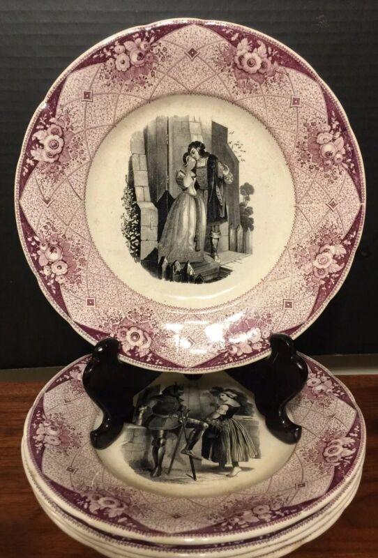 Set Of 5 1800's Lavender & Black Transferware Plates Diff. Scenes Shakespeare
