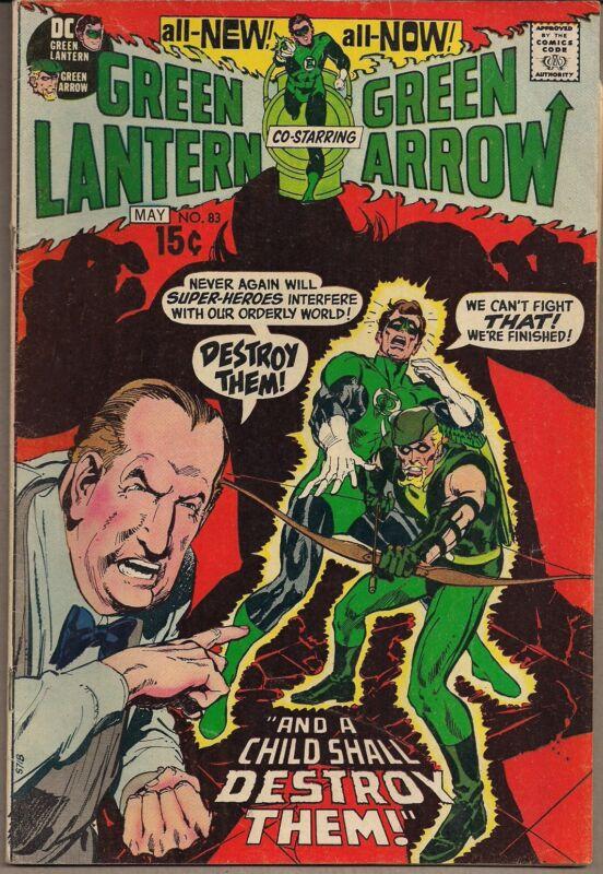 GREEN LANTERN & ARROW #83 DC 05/71 HAL REVEALS ID TO CAROL FERRIS NEAL ADAMS GD+