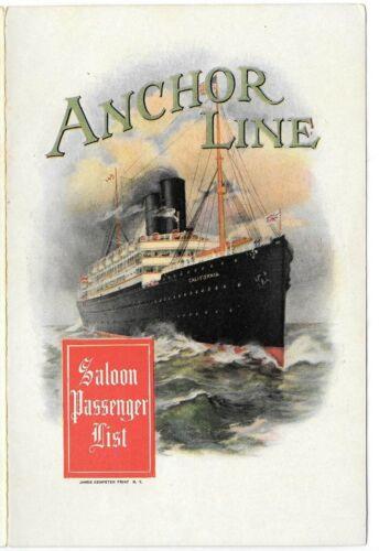 August 1909 Anchor Line Cruise saloon passenger list New York Glasgow Columbia