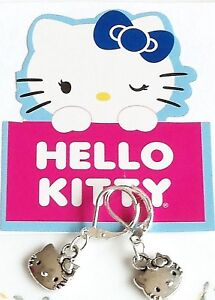 Hello Kitty 925 Sterling Silver Lever back dangle Earrings handmade cat