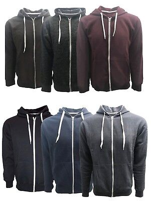 MEN'S FULL ZIP FRENCH TERRY COTTON HOODIE SWEATSHIRT . Full Zip Terry Hoodie