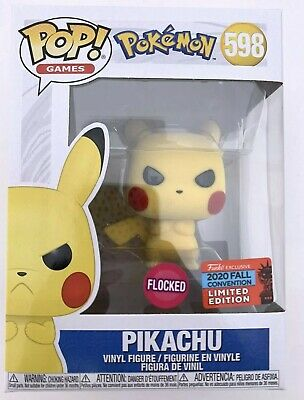 FUNKO POP Pokemon PIKACHU Flocked #598 NYCC 2020 Fall Convention LIMITED EDITION