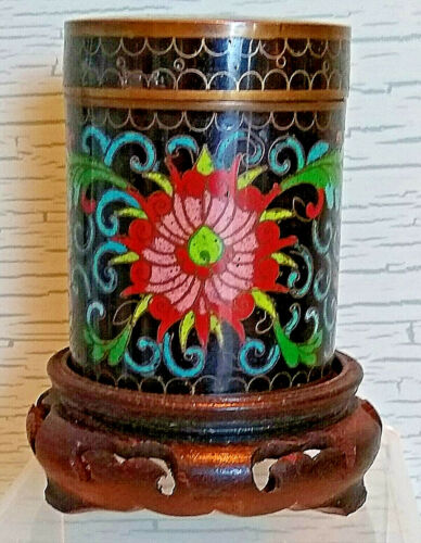 Vintage Chinese Cloisonne Enamel Round Cigarette Jar Trinket Box Lid Wood Stand