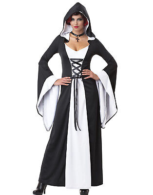 Deluxe Hooded Robe Black/White Sexy Witch Fancy Womens Halloween Costume](Halloween Costumes Black Robe)