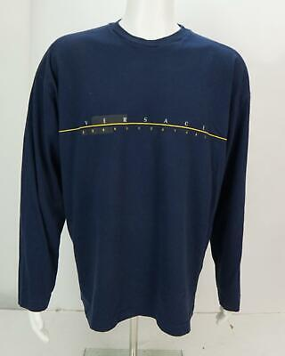 Versace Jeans Couture Spell Out Men's Crew Neck Long Sleeve Shirt Navy Blue 3XL