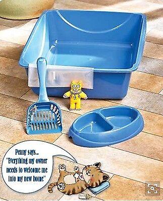New Cat Starter Set - NEW KITTEN SUPPLIES - Kitty Litter Box - Cat Bowl