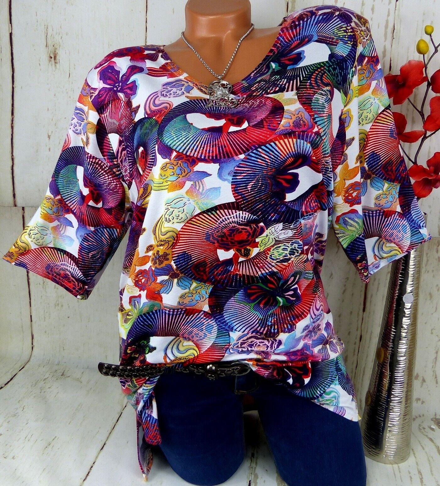 New Jersey Shirt Tunika Bluse Lagenlook Schlitze Top T Shirt Bunt 1. 42 44