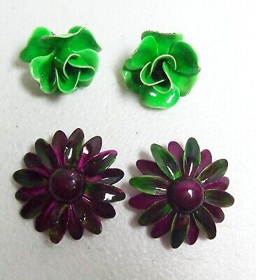 Two Pair Vintage FLOWER POWER Large Earrings](Power Couple Costumes)