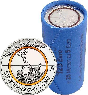25 x Deutschland 5 Euro Subtropische Zone 2018 mit Orangen Polymerring in Rolle