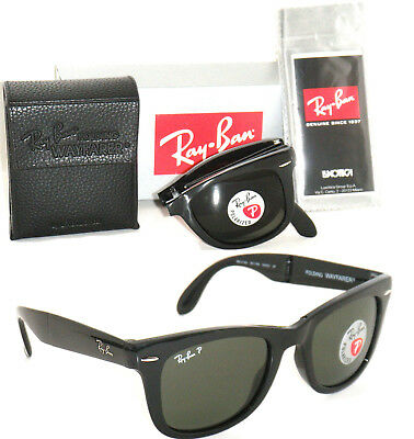 RAY BAN RB 4105 601/58 Wayfarer Folding Black Frame with Green Polarized  (Rb4105 Polarized)