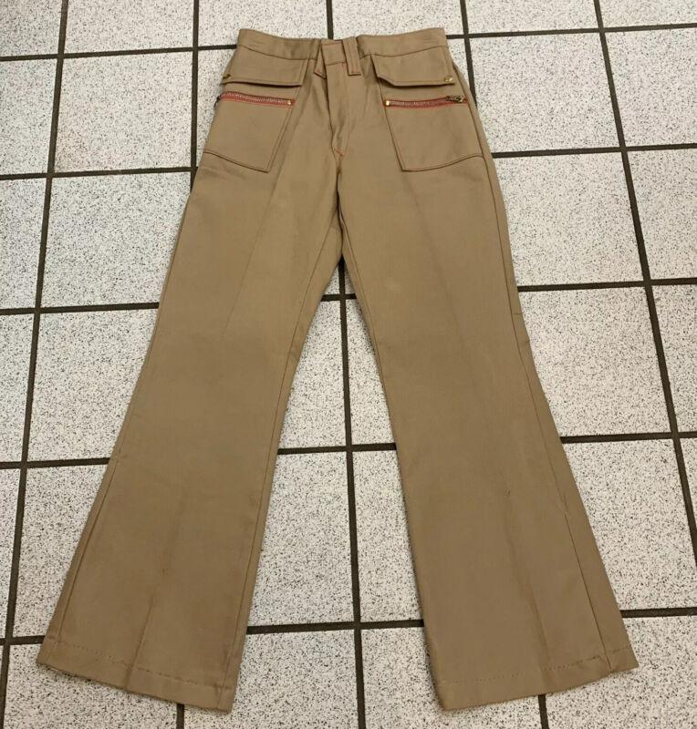 Vintage Girls Pants Hippie Bell Bottom 1970s Disco Tan Polyester Flare Sz 12 NWT