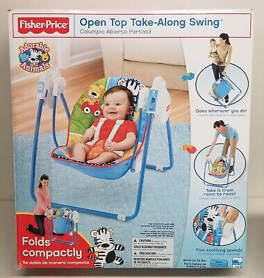 FISHER PRICE OPEN TOP TAKE ALONG SWING ADORABLE ANIMALS *NEW*