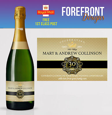 Personalised Champagne bottle label PEARL Wedding anniversary/wedding 30 - Champagne Bottle Labels