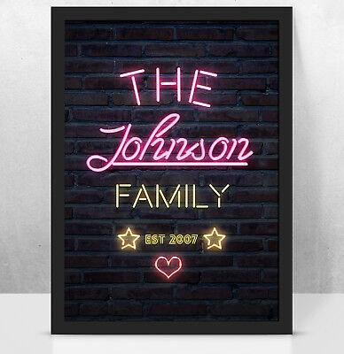 Couple Custome Ideas (Personalised Custom NEON light art print, Perfect New family gift)