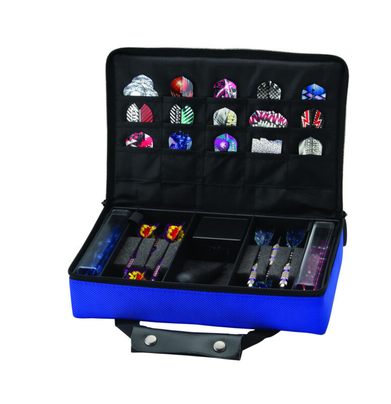 Casemaster CLASSIC BLUE Dart Case  HOLDS 4 SETS DARTS flights shafts tips tool