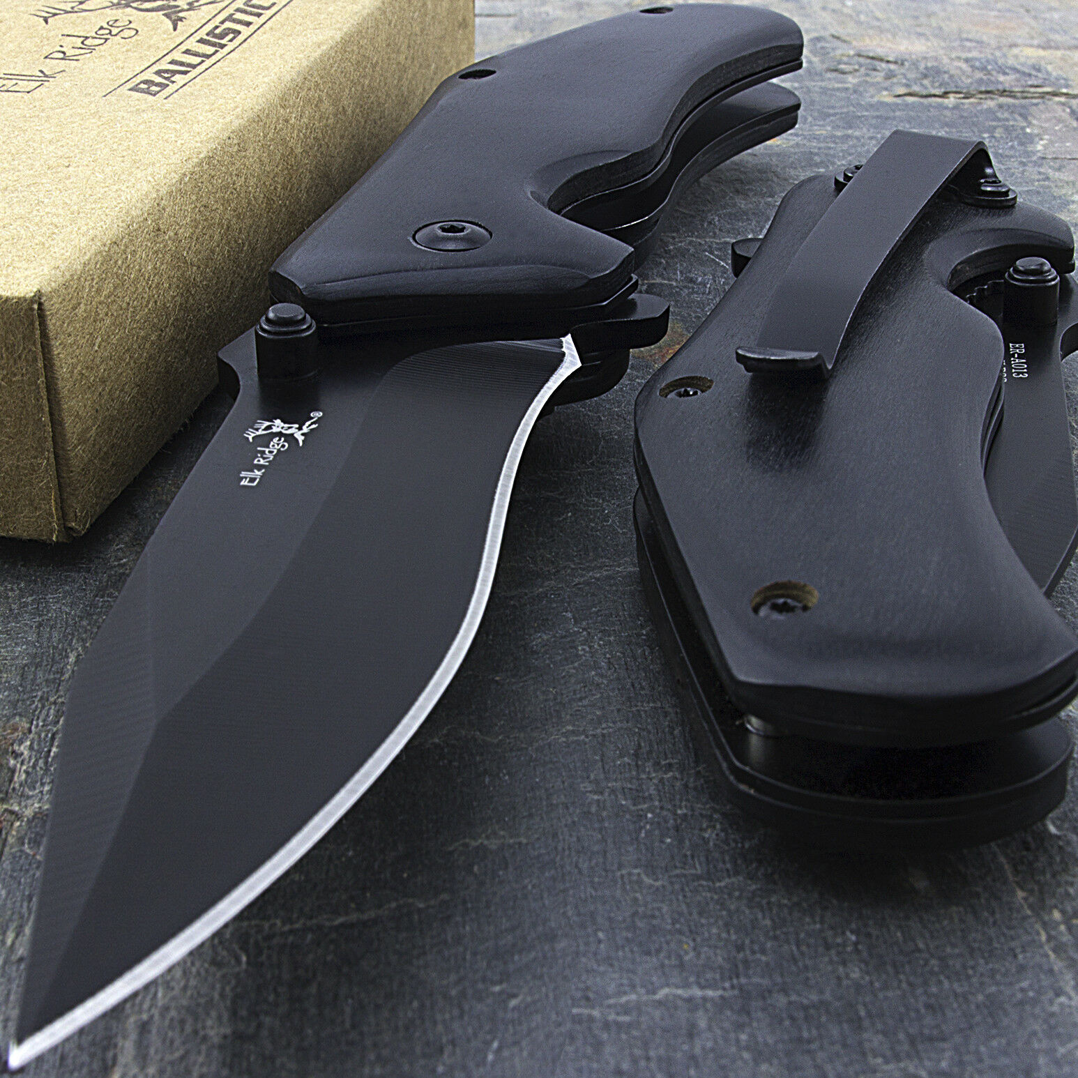 """Knife - 7"""" ELK RIDGE WOOD SPRING ASSISTED FOLDING TACTICAL POCKET KNIFE EDC Open Assist"""