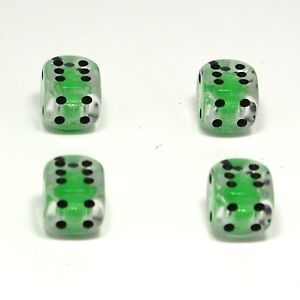 Set-of-Four-Clear-with-Green-Inserts-Dice-Dust-Caps-X4-80s-Retro-Valve-Caps