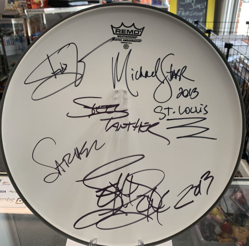 Steel Panther full band signed autographed Remo drumhead