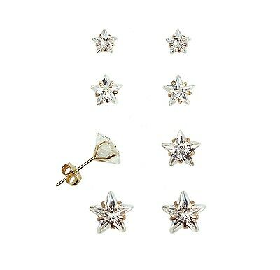 Star 14k Yellow Gold Studs (14K Yellow Gold Star Cubic Zirconia Stud)