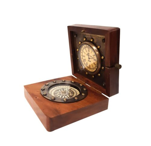 Nautical Compass & Watch Vintage Wooden Fitted Gift Box Portable Navigation Gear