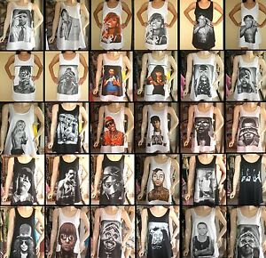Ladies-Womans-Pop-Rock-T-shirt-Singlet-Vest-Mini-Dress-Free-Size-S-M