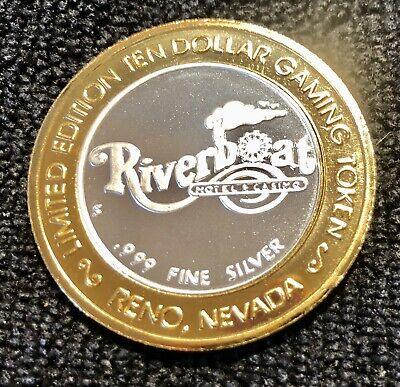 "Riverboat Hotel Casino Reno Nevada $10  .999 ""Riverboat"" Silver Strike"