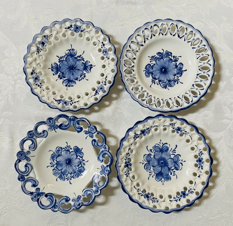 "Portugal Reticulated Pierced White Blue Floral Hand Paint Wall 4 Plates 8"" Decor"