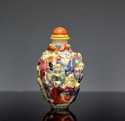 Antique Chinese Qing Qianlong MK Famille Rose 18 Immortal Porcelain Snuff Bottle
